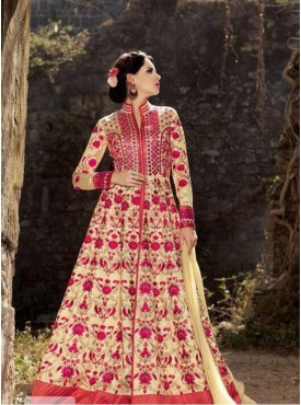 India Emporium Banarasi silk Cream Color Suits