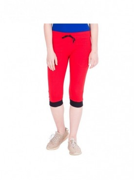 American-Elm Women Red Cotton Capri- 3/4th Pants