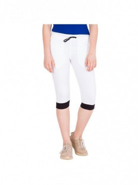 American-Elm Women White Cotton Capri- 3/4th Pants