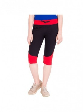 American-Elm Women Black and Red Cotton Capri- 3/4th Pants