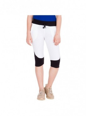 American-Elm Women Black & White Cotton Capri- 3/4th Pants