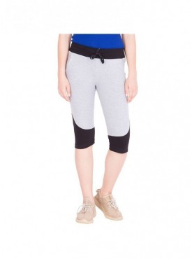 American-Elm Women Cotton Grey and Black Capri- 3/4th Pants