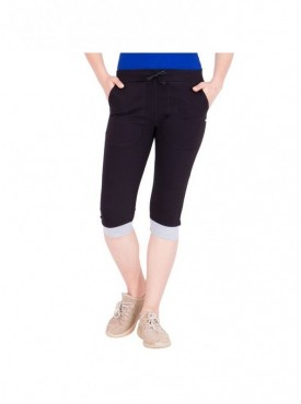 American-Elm Women Black Stylish Cotton Capri- 3/4th Pants