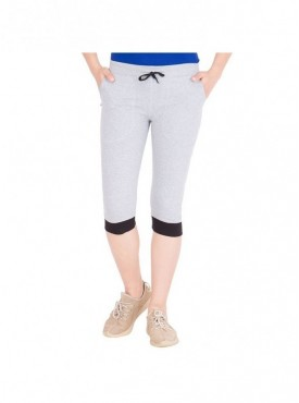 American-Elm Women Grey Trendy Cotton Capri- 3/4th Pants