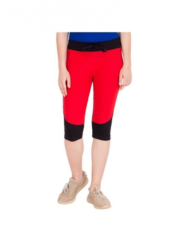 American-Elm Women Red & Black Cotton Capri- 3/4th Pants