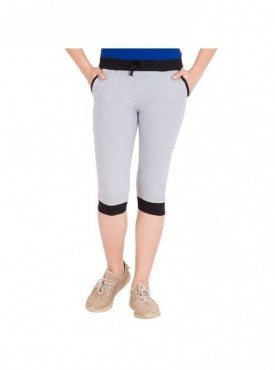 American-Elm Women Grey Stylish Capri- 3/4th Pants
