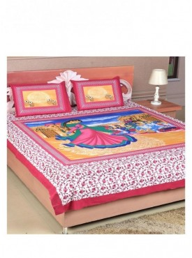 Classical Dance Form Print Pink Double Bedsheet