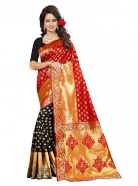 Viva N Diva Red & Black Colored Banarasi Silk Saree.