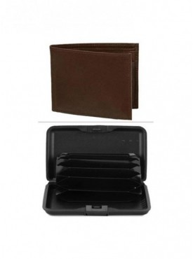 Jack Klein Combo of Brown Color Leather Wallet And Aluma Wallet