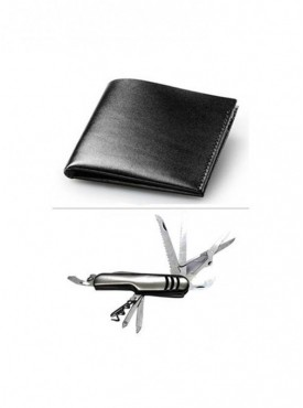 Jack Klein Combo of Black Color Leather Wallet And Swiss Knife