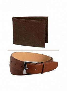 Jack Klein Combo of Leather Wallet And Belt For Men