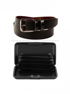 Jack Klein Combo of Leather Belt And Aluma Wallet