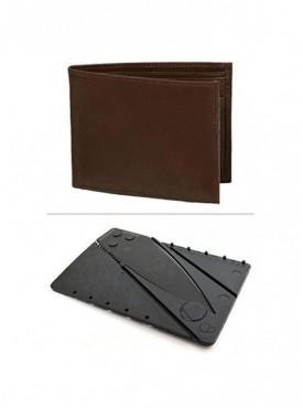 Jack Klein Combo of Leather Wallet And Credit Card Knife