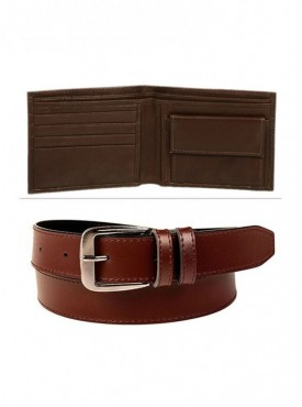 Combo of Leather Wallet And Belt For Men