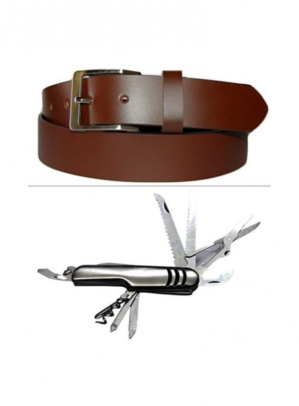 Jack Klein Combo of Leather Belt And Swiss Knife