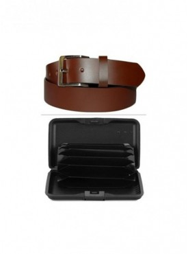 Jack Klein Combo of Good Quality Leather Belt And Aluma Wallet