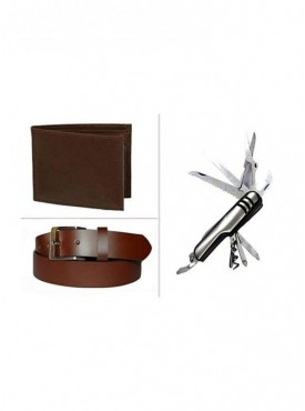 Jack Klein Combo of Leather Wallet, Belt And Swiss Knife