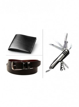 Jack Klein Combo of Leather Belt, Wallet And Swiss Knife