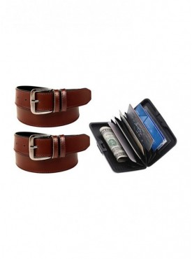 Jack Klein Pack of 2 Leather Belt And Aluma Wallet