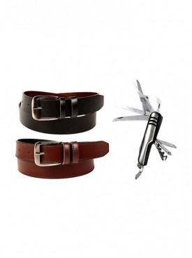 Jack Klein Pack of 2 Different Color Leather Belt And Swiss Knife