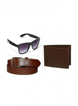 Jack Klein Combo of Brown Belt, Brown Wallet And Sunglass
