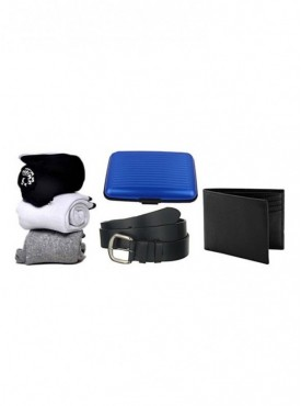 Jack Klein Combo of Pack of 3 Socks, Aluma Wallet, Leather Wallet And Belt