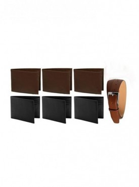 Combo of 3 Brown Leather Wallet 3 Black Leather Wallet And Brown Leather Belt