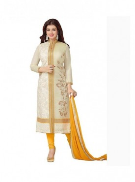 Dress Material Cotton Cream Color Suit