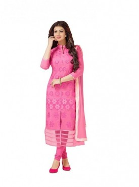 Dress Material Cotton Pink Color Suit