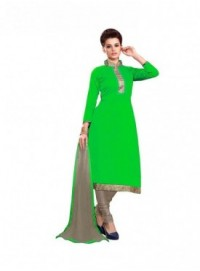 Dress Material Chanderi Green Color Suit