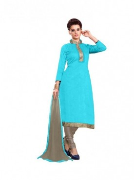 Dress Material Chanderi SkyBlue Color Suit