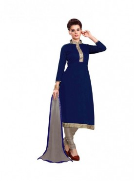 Dress Material Chanderi Navy Blue Color Suit