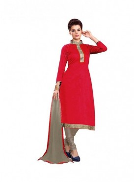 Dress Material Chanderi Red Color Suit