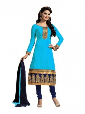 Dress Material Chanderi Ligh Blue Color Suit