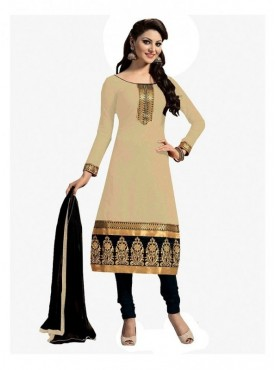 Dress Material Chanderi Beige Color Suit
