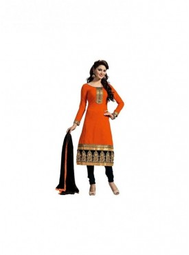 Dress Material Chanderi Orange Color Suit