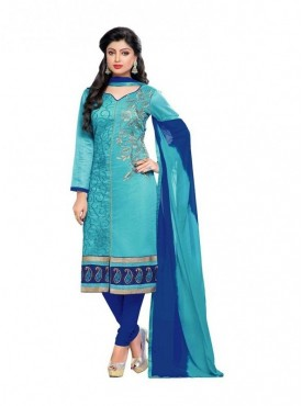 Dress Material Chanderi Sky Blue Color Suit