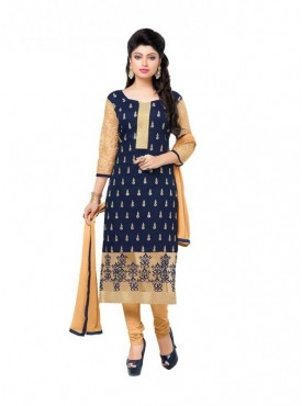 Dress Material Chanderi Blue Color Suit