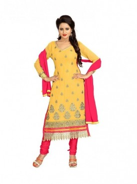 Dress Material Georgette Yellow Color Suit