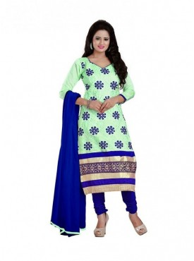 Dress Material Chanderi Light Green Color Suit