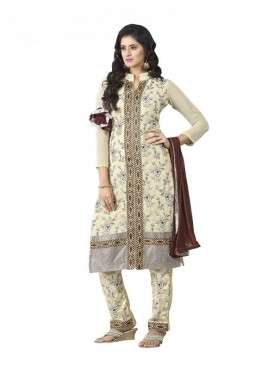 Dress Material Georgette Beige Color Suit