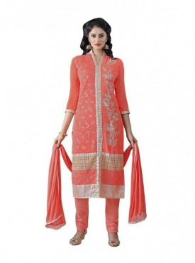 Dress Material Georgette Orange Color Suit