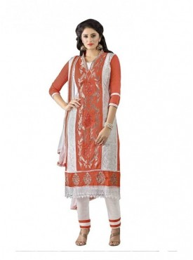 Dress Material Cotton White & Red Color Suit