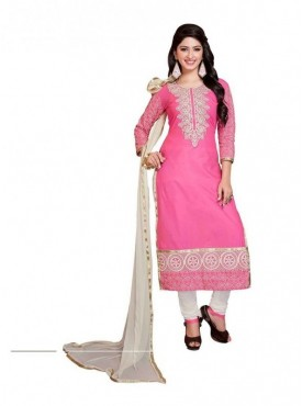 Dress Material Georgette Pink & White Color Suit