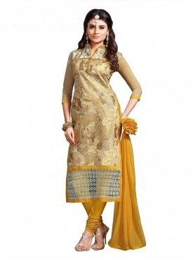 Dress Material Chanderi Yellow Color Suit