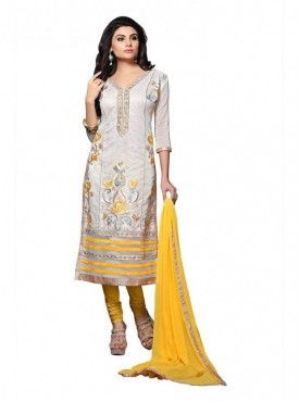 Dress Material Chanderi White Color Suit