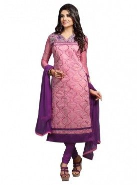 Dress Material Chanderi Light Pink Color Suit