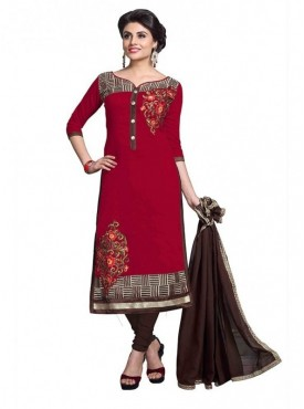 Dress Material Chanderi Maroon Color Suit