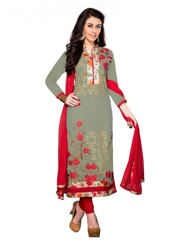 Dress Material Cotton Mehendi green Color Suit