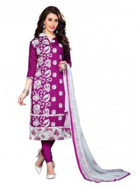 Dress Material Cotton Purple Color Suit